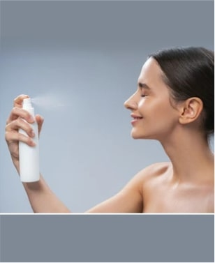 After cleansing the face, close your eyes and spray the toner on face & neck.
